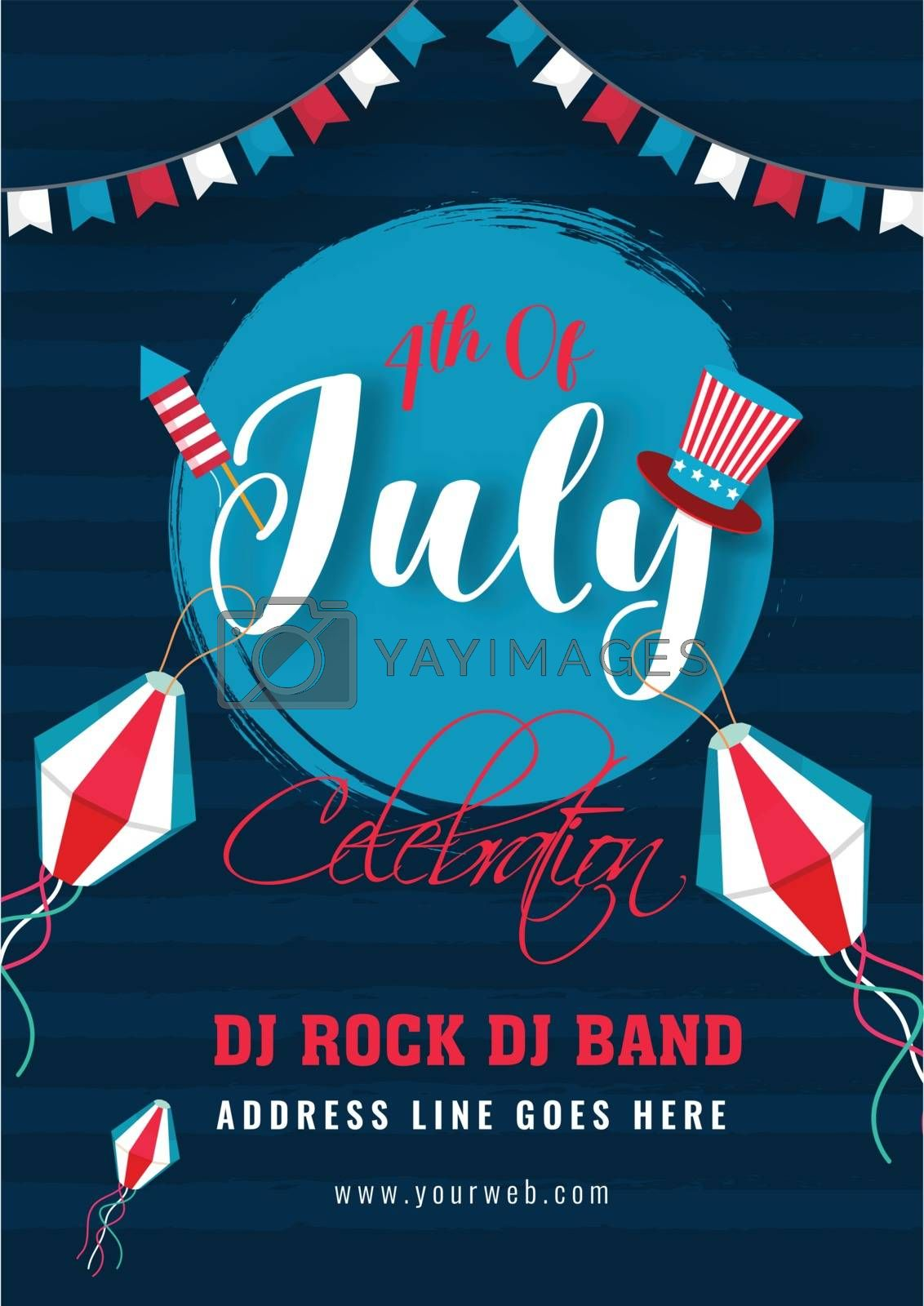 Royalty free image of 4th Of July Celebration invitation card design with time, date a by aispl