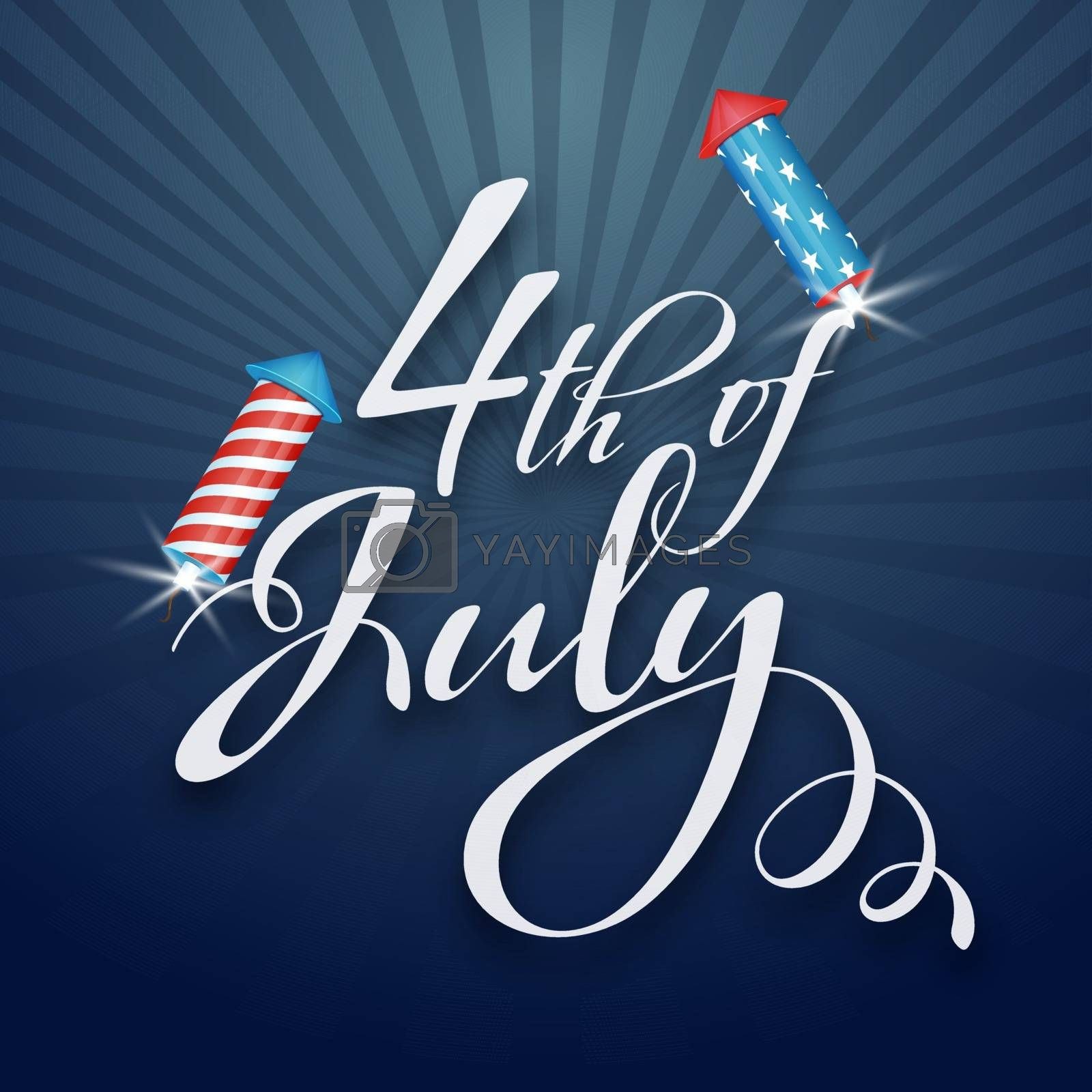 4th of july Independence celebration background with firework rocket in USA flag colors.