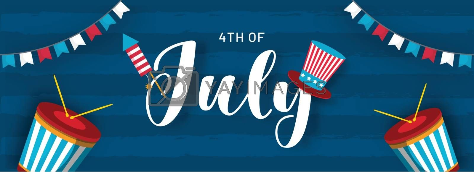 4th Of July header or banner design with illustration of uncle sam hat, drum and bunting flags decorated on blue background.