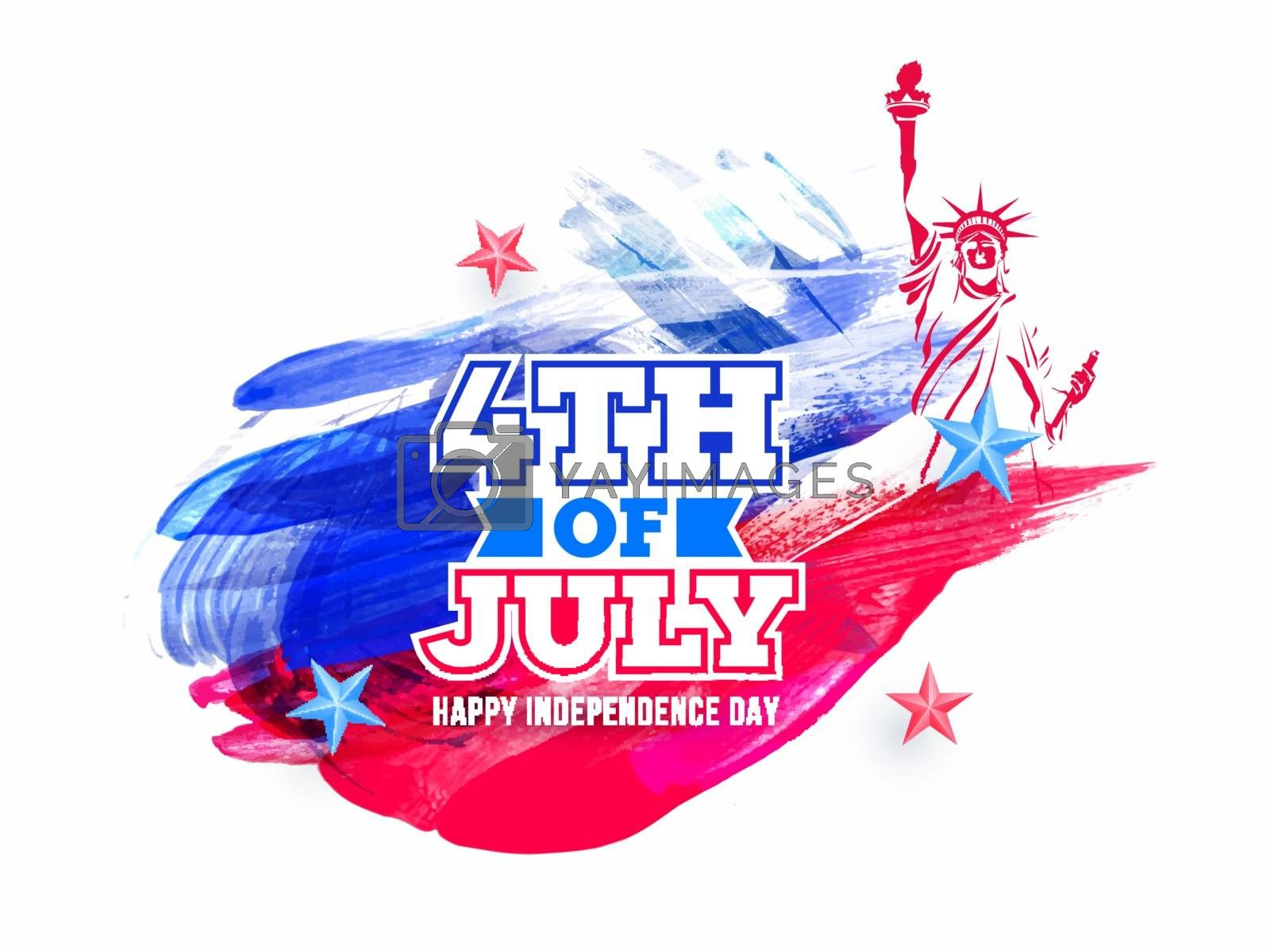 Sticker style text 4th Of July and Statue of liberty on brush stroke background for Happy Independence Day celebration concept.