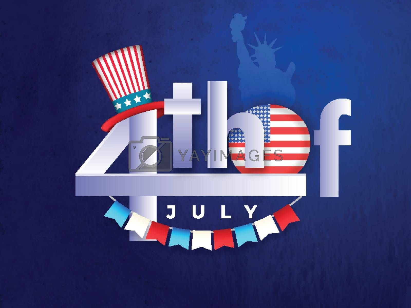 Stylish text 4th Of July with American badge and uncle sam hat on blue background for Independence Day celebration.