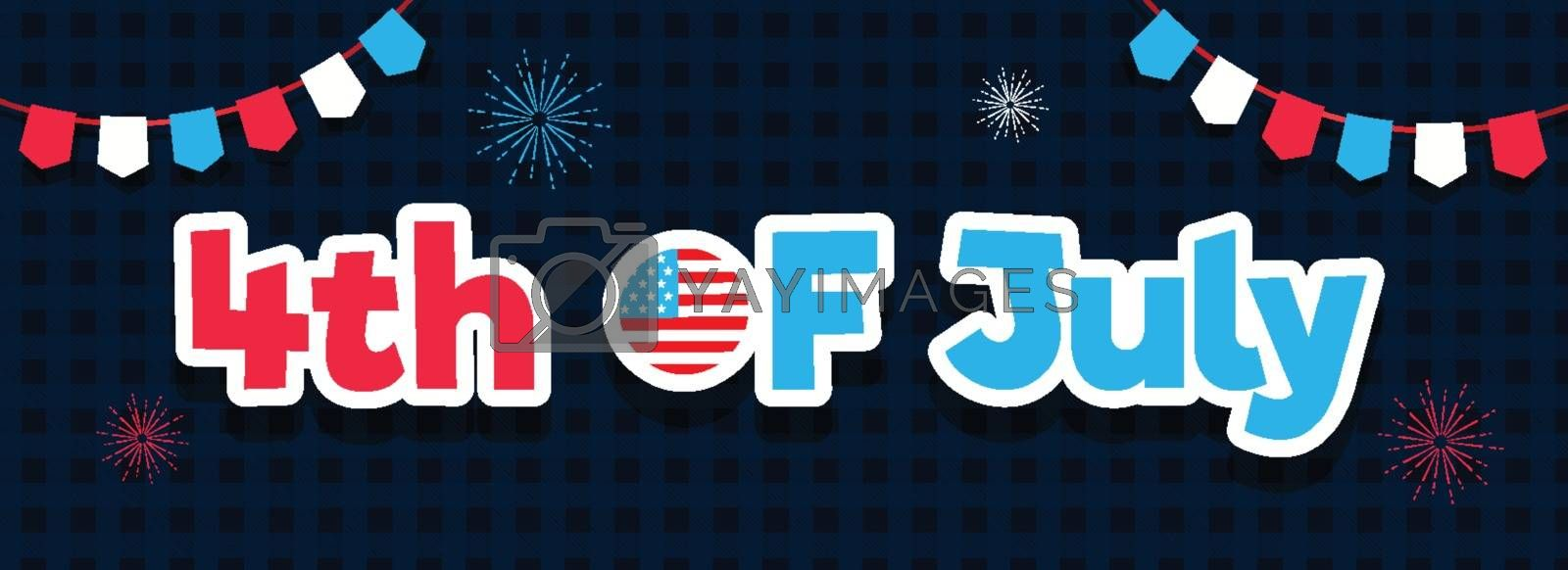 Sticker style text 4th Of July with bunting flags decorated on black and blue tartan pattern background. Header or banner design.