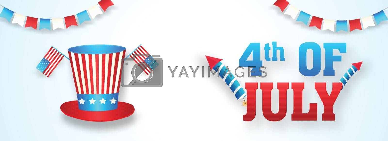 Royalty free image of 4th Of July header or banner design with illustration of uncle s by aispl