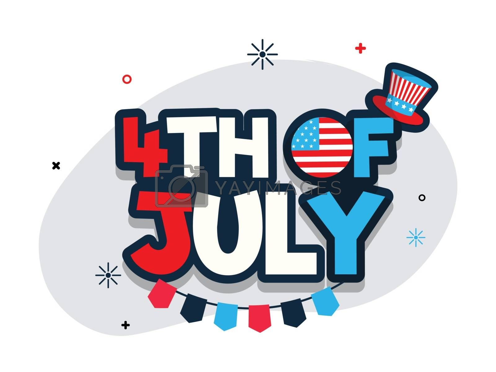 Flat style text 4th Of July with uncle sam hat for Independence Day banner or poster design.