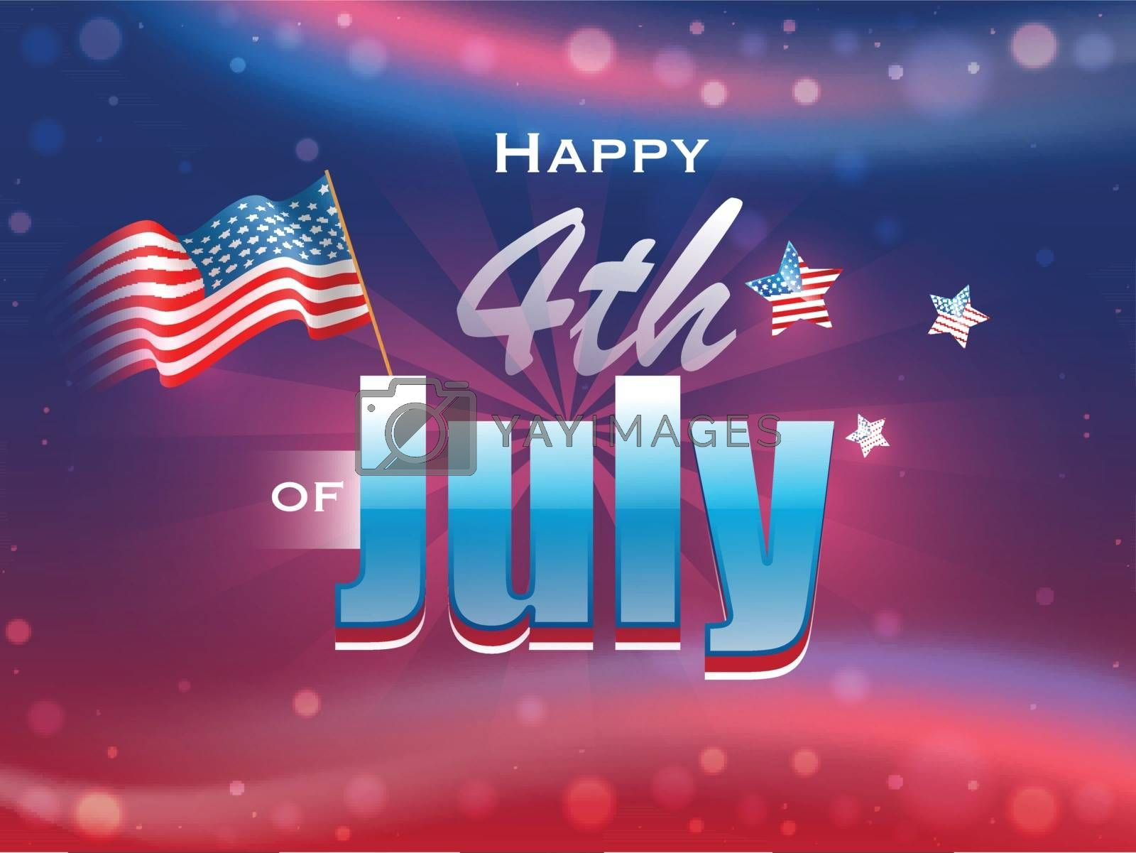 Happy 4th Of July text with wavy American Flag and stars on glossy bokeh background.