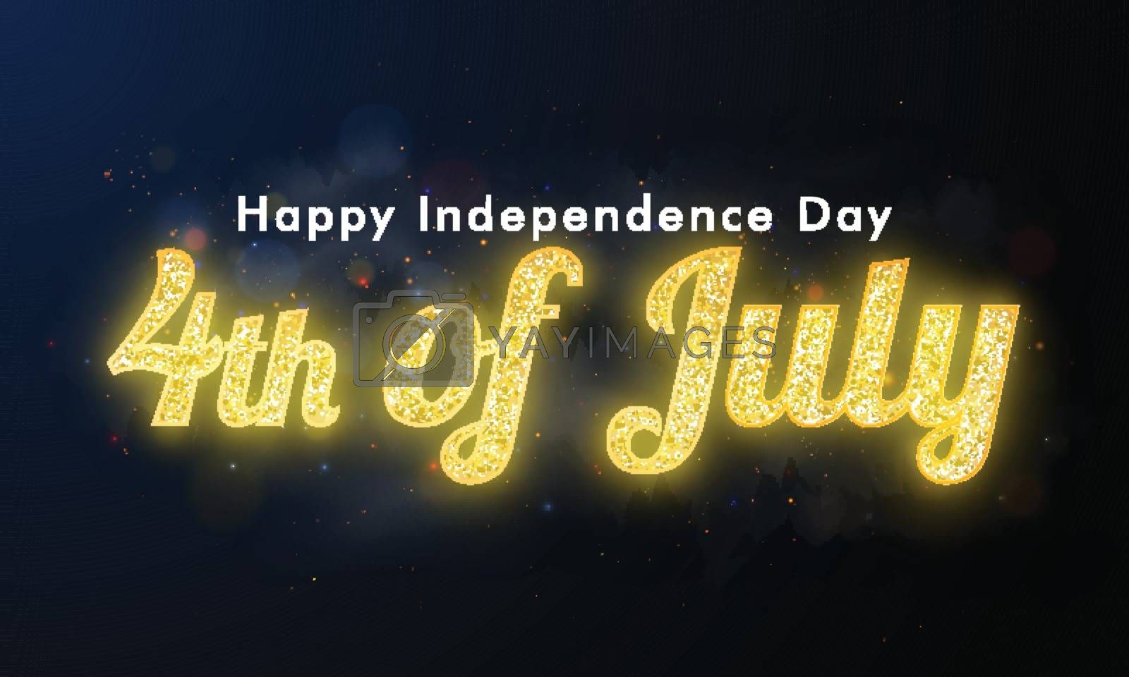 Royalty free image of Golden glitter text 4th Of July on black background for Happy In by aispl