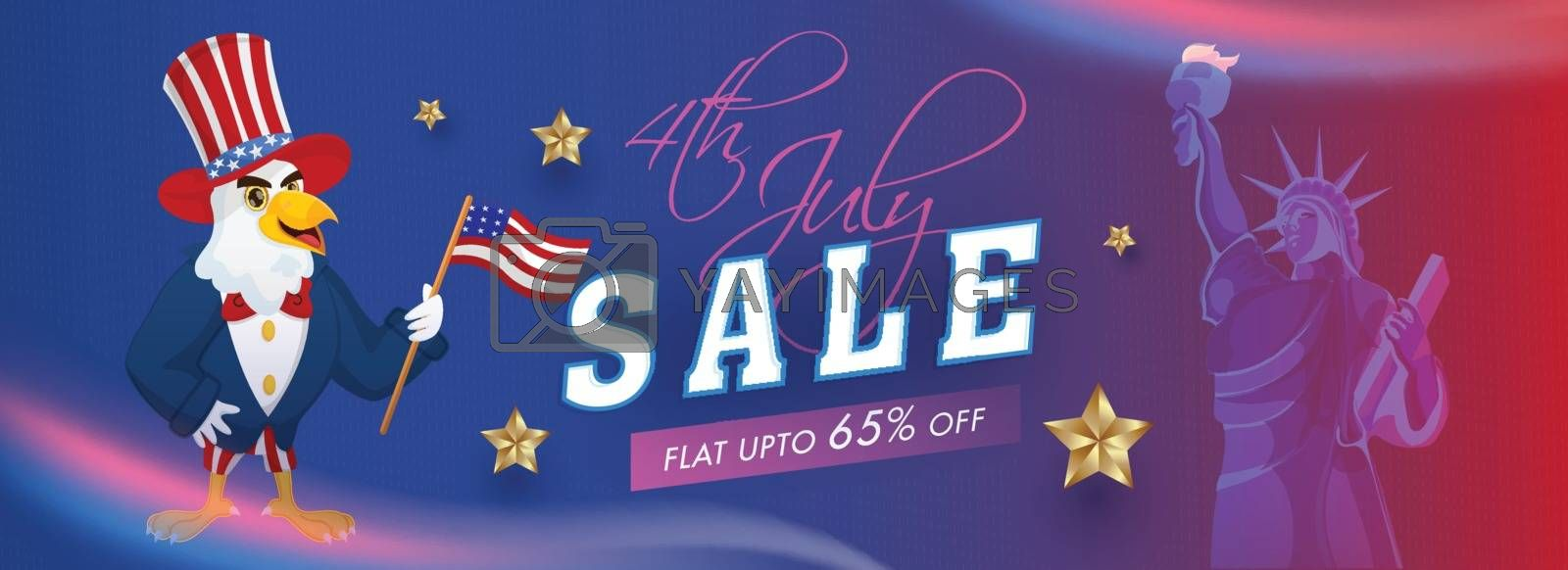 4th Of July Sale header or banner design with 65% discount offer, Statue of liberty and Eagle cartoon character.