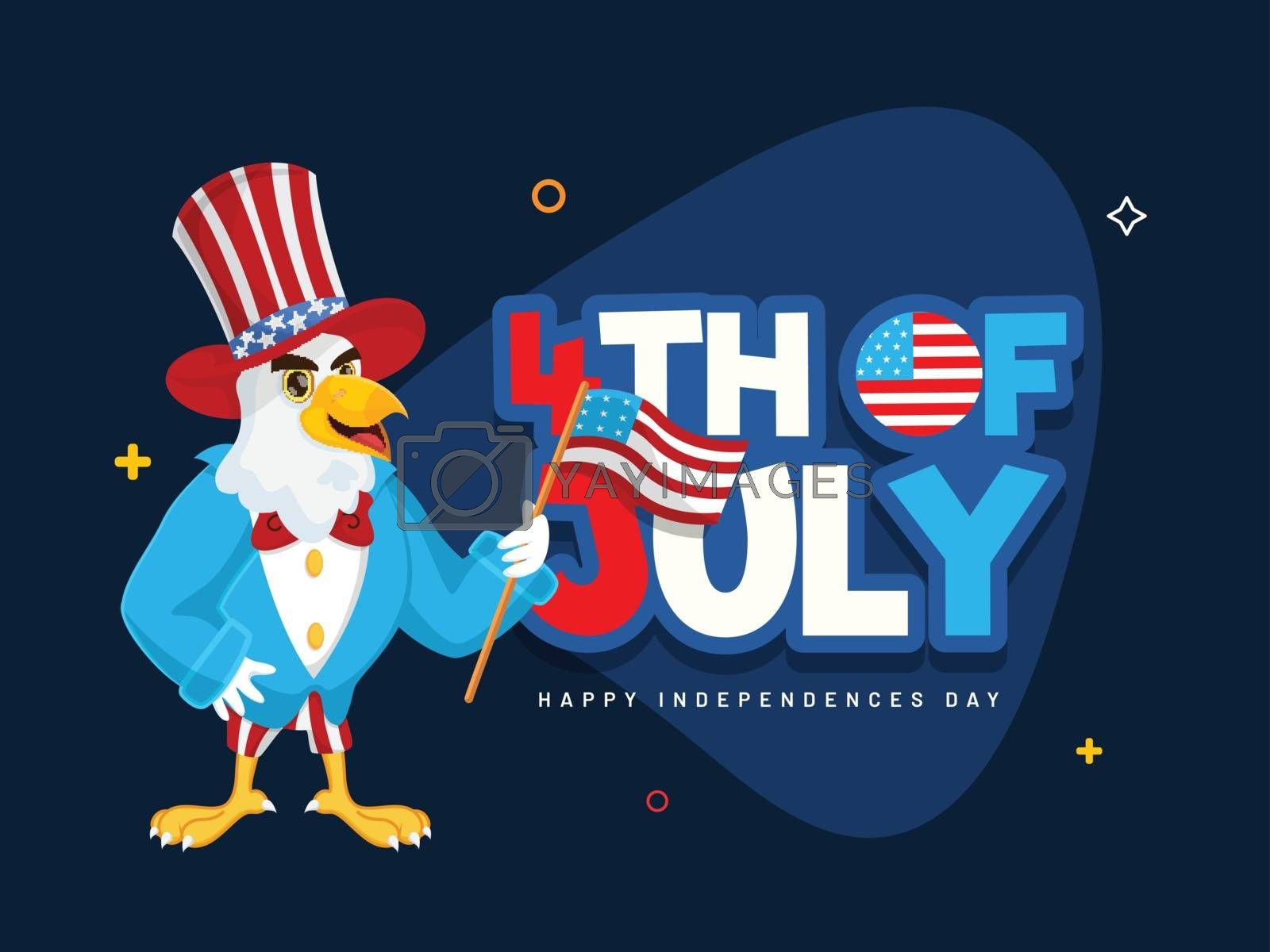 Sticker style text 4th Of July and eagle cartoon character holding American Flag on blue background for Happy Independence Day banner or poster design.