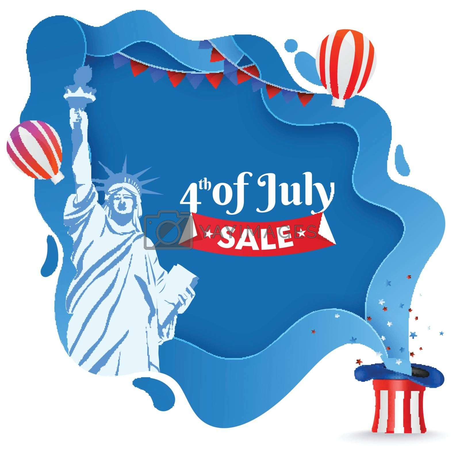 4th Of July Sale poster or template design with Statue of liberty, uncle sam hat and balloons on paper cut background.