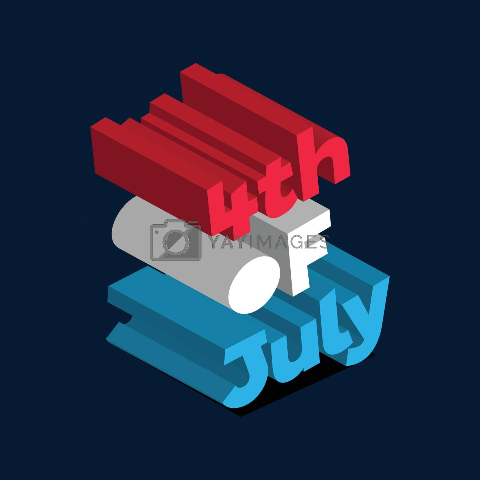 Colorful 3D text 4th Of July on blue background for Happy Independence Day. Can be used as poster or template design.