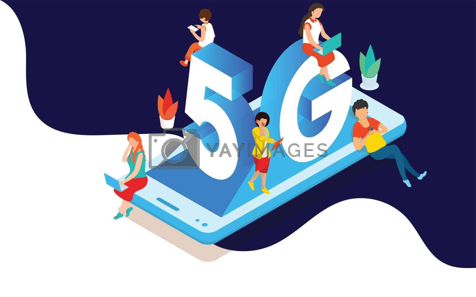 Group of people having fun on social media. Can be use fo landing page, template, ui, web, homepage, poster, banner, flyer design. Isometric 5G network wireless system wifi connection vector illustration concept.