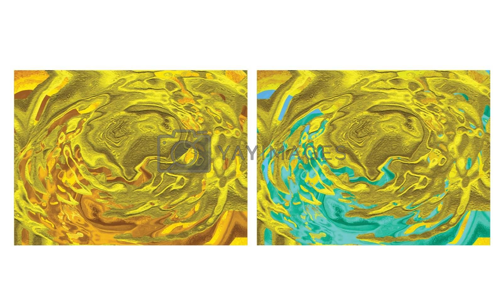Shiny dynamic fluid art abstract in two color texture background.