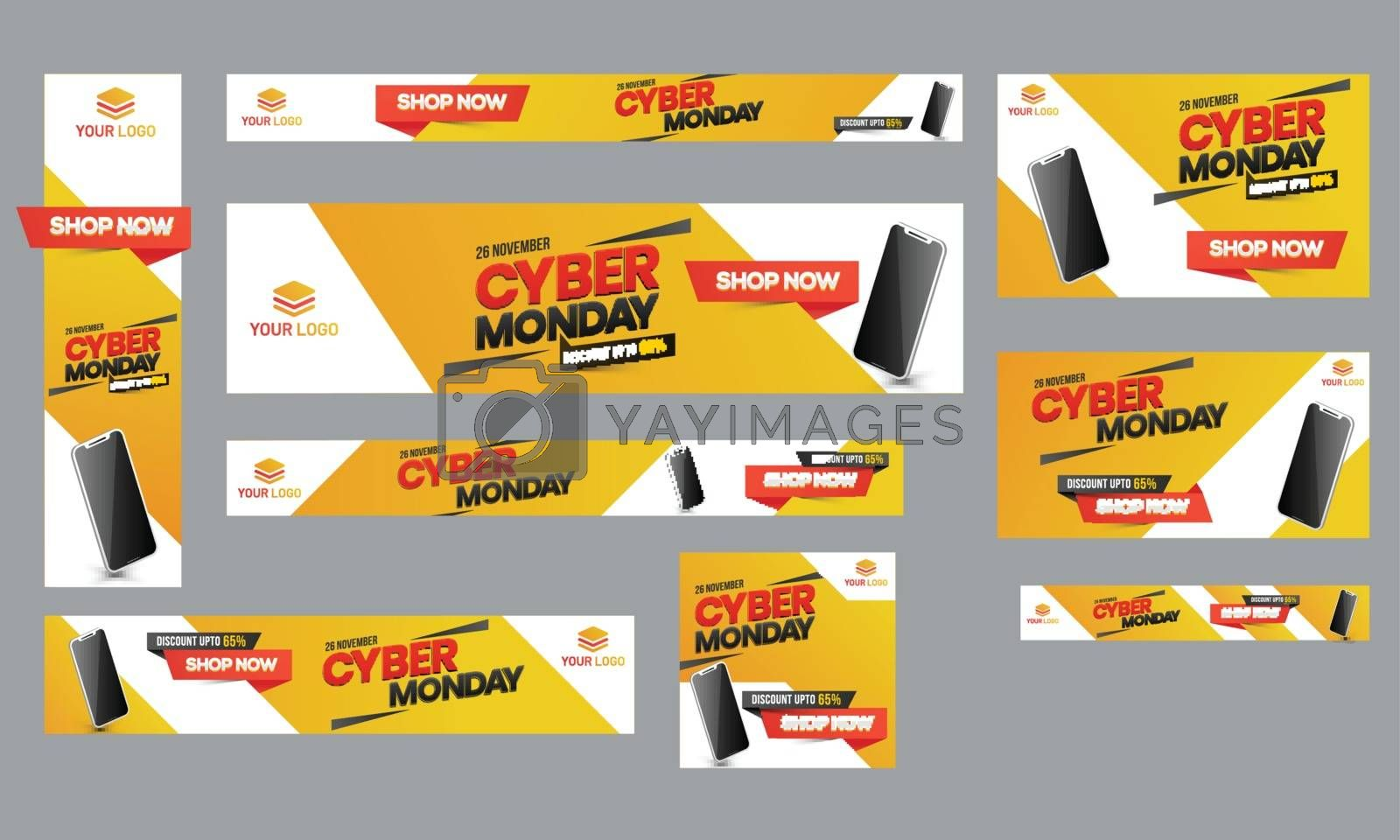 Cyber Monday Sale poster, banner and template set with 65% discount offer for advertisement concept.