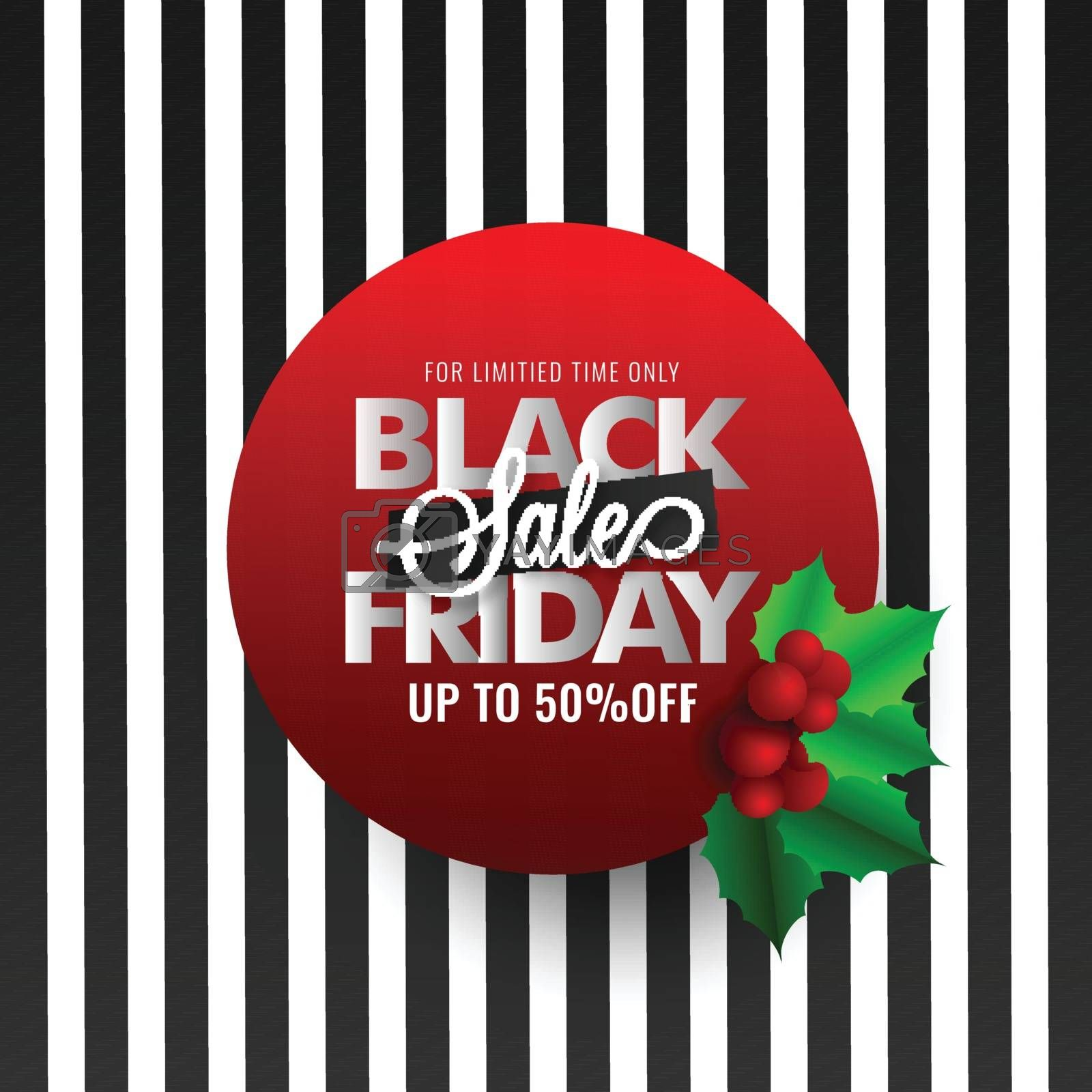 Black Friday Sale label with 50% discount offer on black and white stripe background.