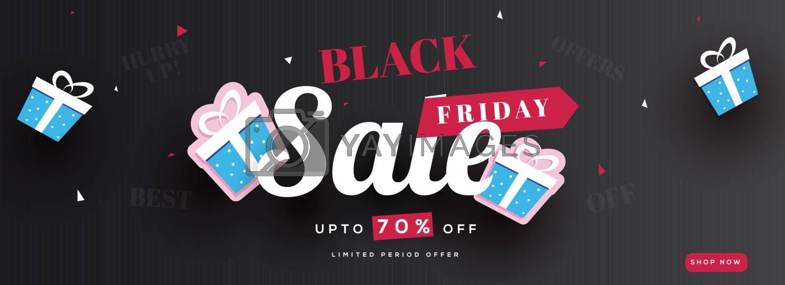 Black Friday Sale banner or header design, Upto 70% off offer with gift boxes on black background.