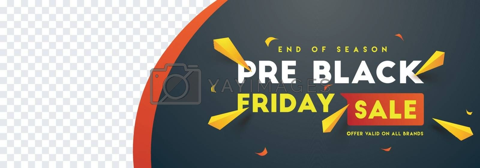 Pre Black Friday sale website banner design with space for your product image
