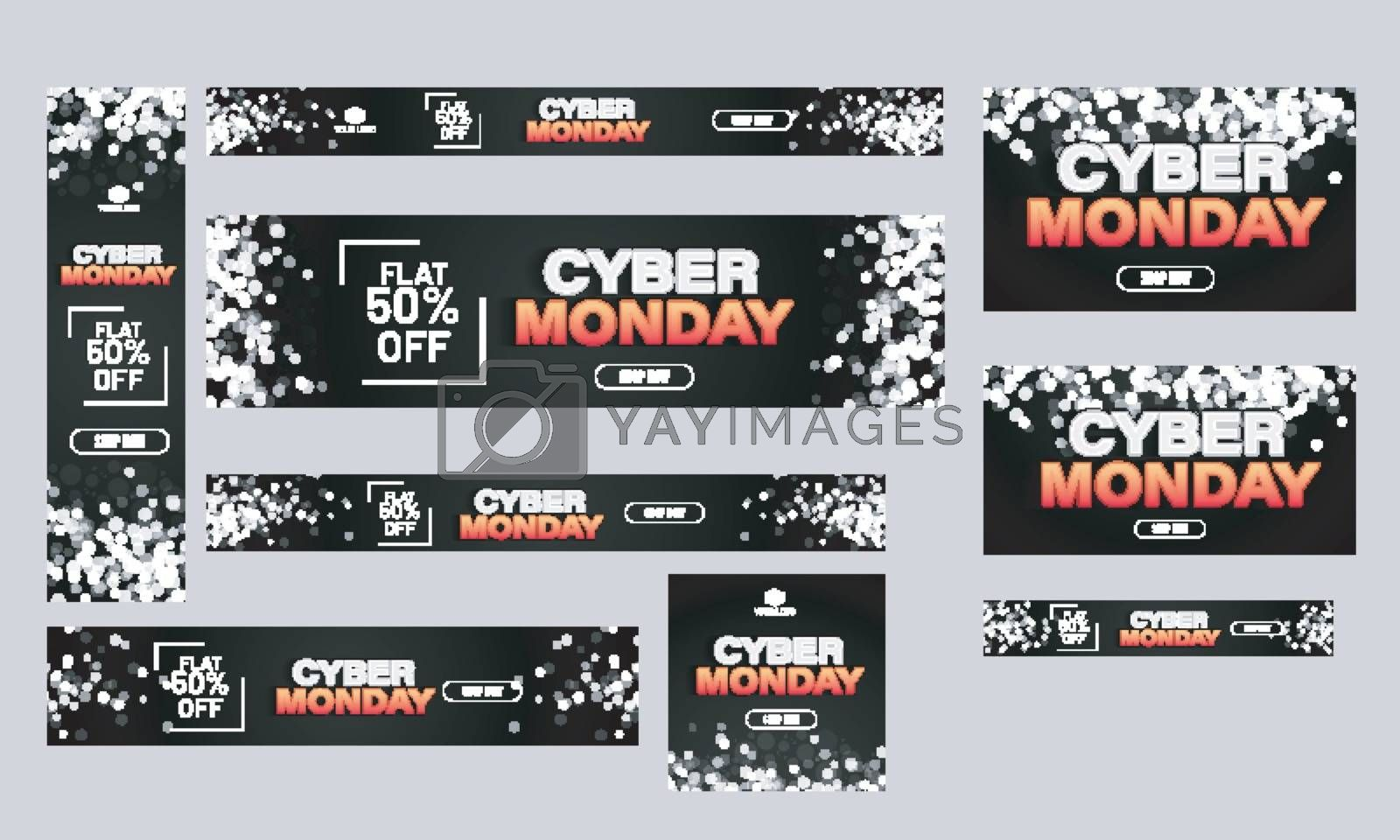 Set of Cyber Monday sale poster, banner and template design with flat 50% discount offer.
