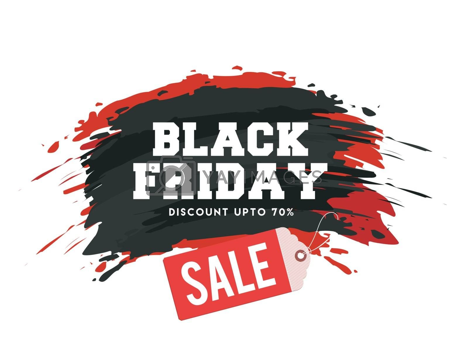 Black Friday Sale text with 70% discount offer on brush stroke background for Advertising banner or poster design.