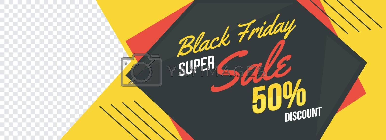 Black Friday sale banner or header design with 50% discount offer and space for your product image.