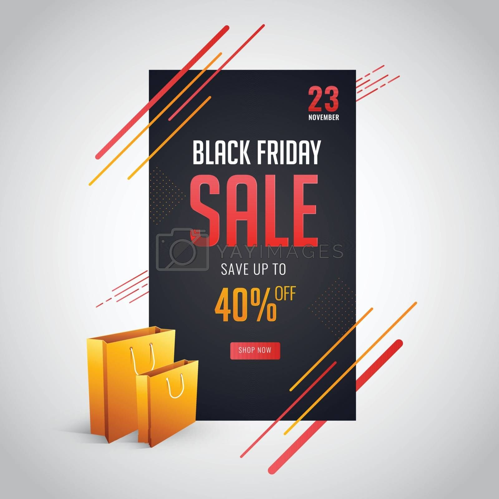 Black Friday Sale template design with save upto 40% Off.