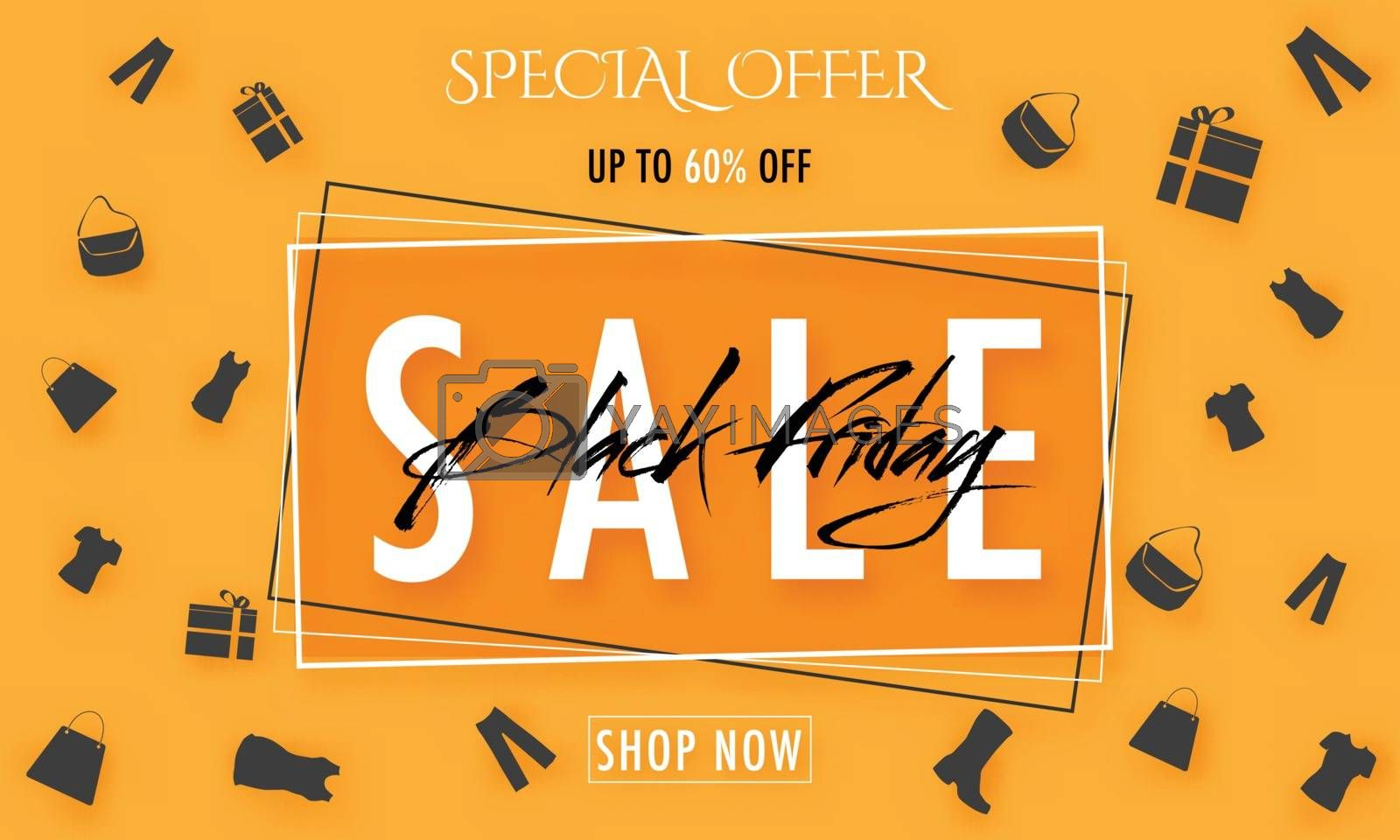 UpTo 60% discount offer for Black Friday Sale banner design for advertising concept.