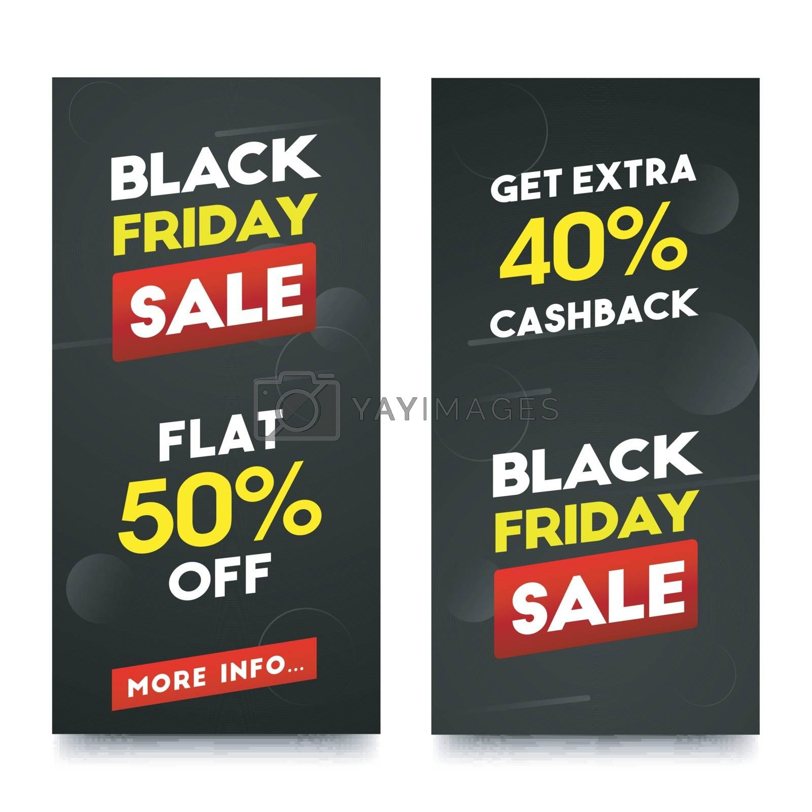 Sale banner or poster design with different discount offers for Black Friday.