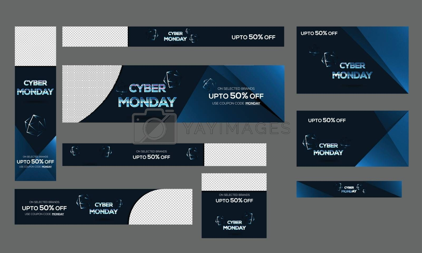 Collection of Cyber Monday sale banner, poster and template design with 50% discount offers and space for your product image.