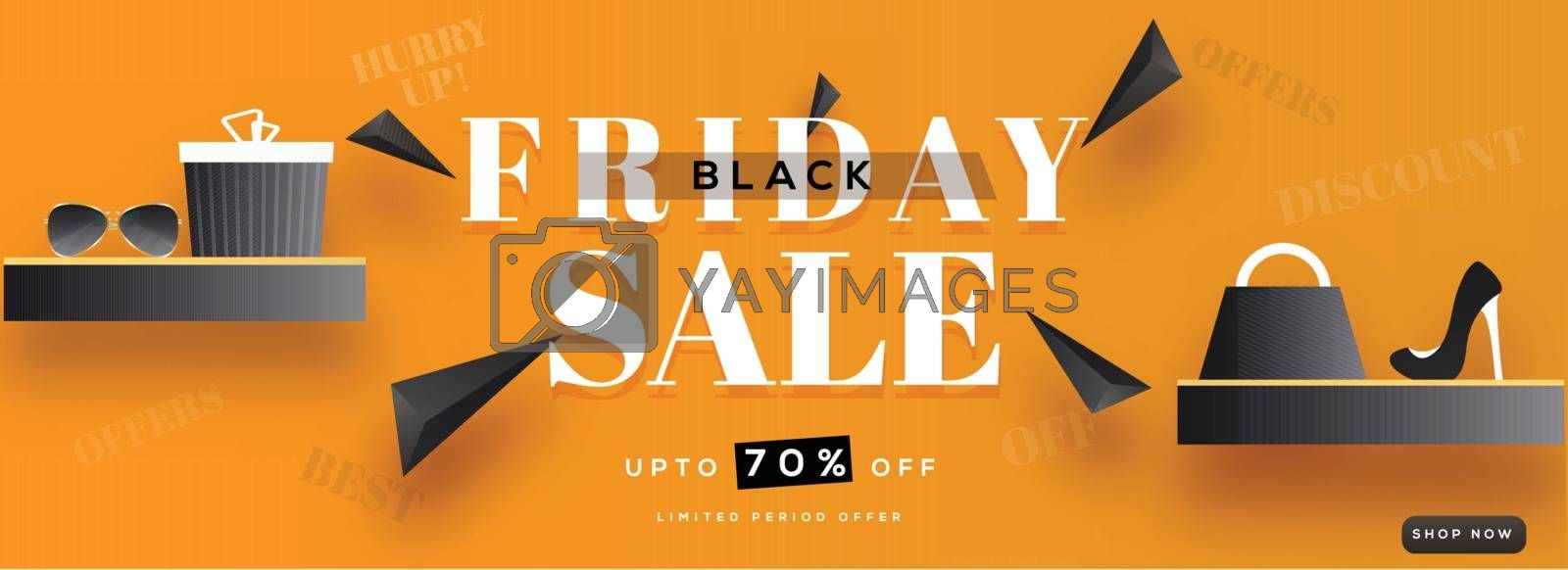 70% Discount offer for Black Friday Sale with shopping elements on orange background. Advertising banner or header design.