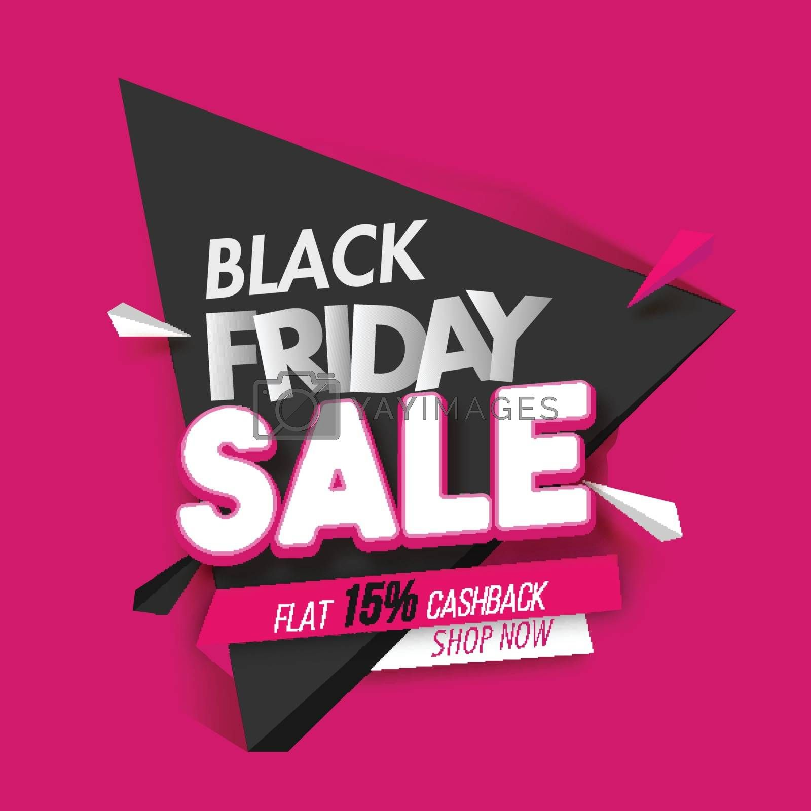 Black Friday Sale with 15% cashback offer on pink background for Advertising poster design.