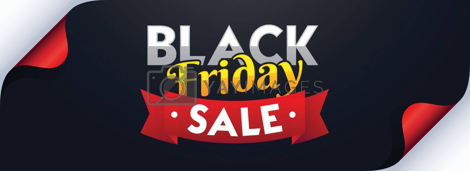 Curl paper style website header or banner design for Black Friday Sale.