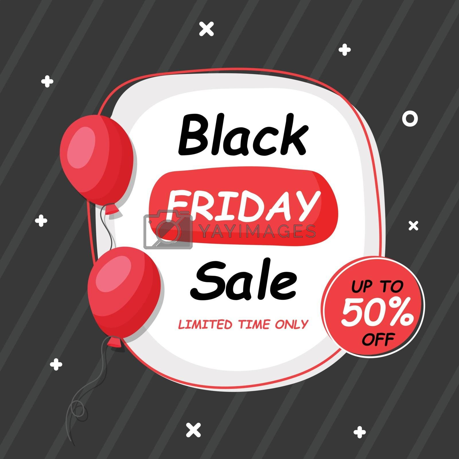 UpTo 50% off for Black Friday Sale banner or poster design decor by aispl