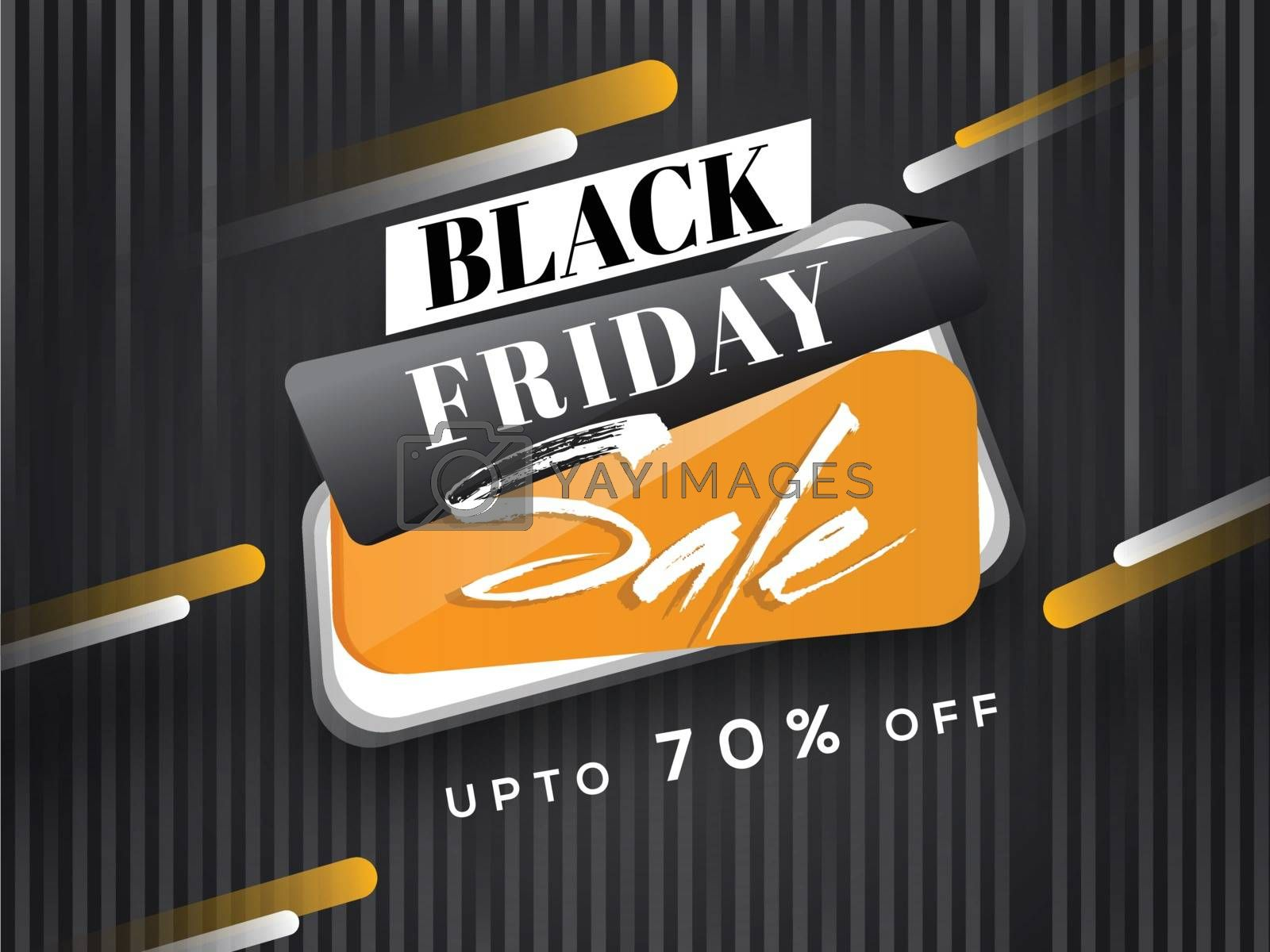 Sale tag for Black Friday with 70% discount offer on abstract background.