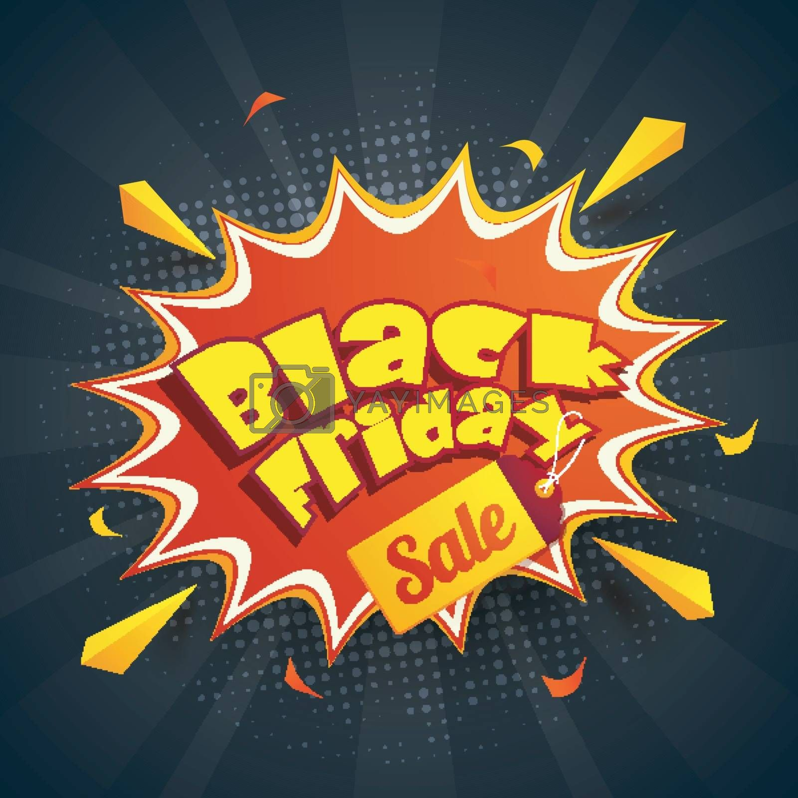 Pop art style poster design with yellow text Black Friday sale on black halftone background.