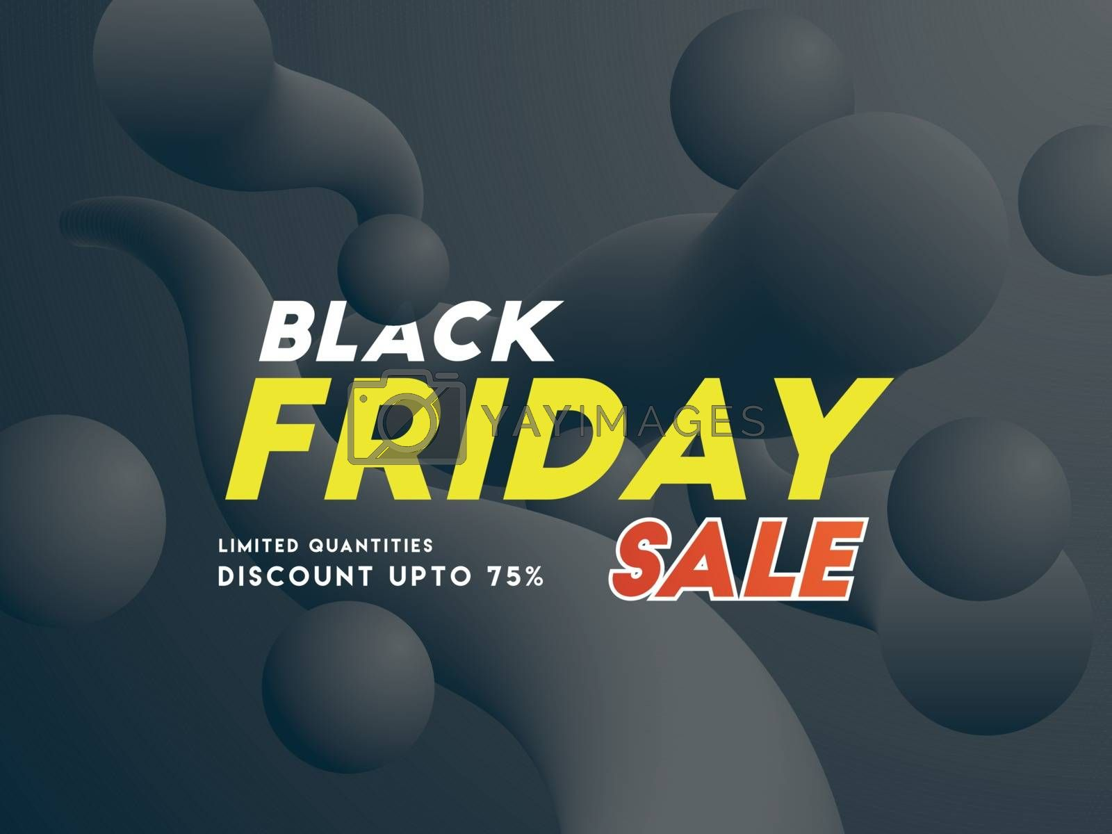 Banner or poster design, 75% discount offer with Black Friday sale text on fluid art abstract background.