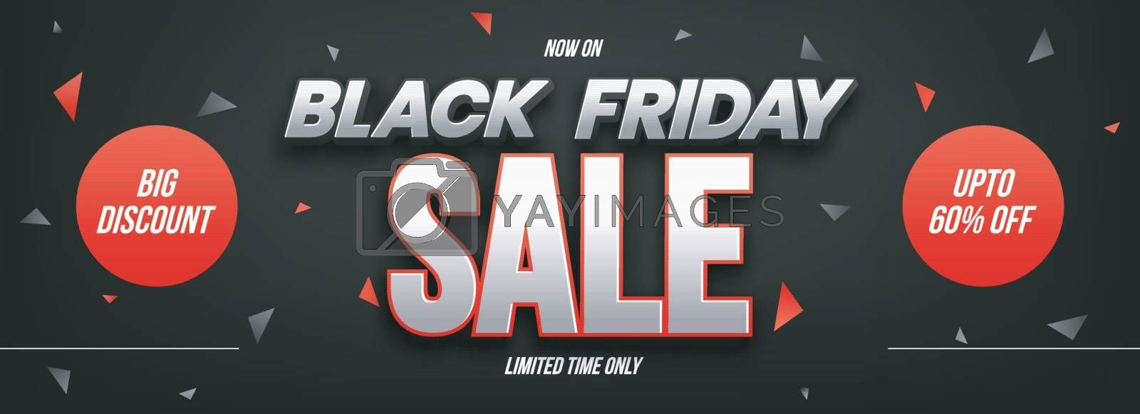 Website header or banner design lettering Black Friday Sale and 60% discount offer on abstract black background.