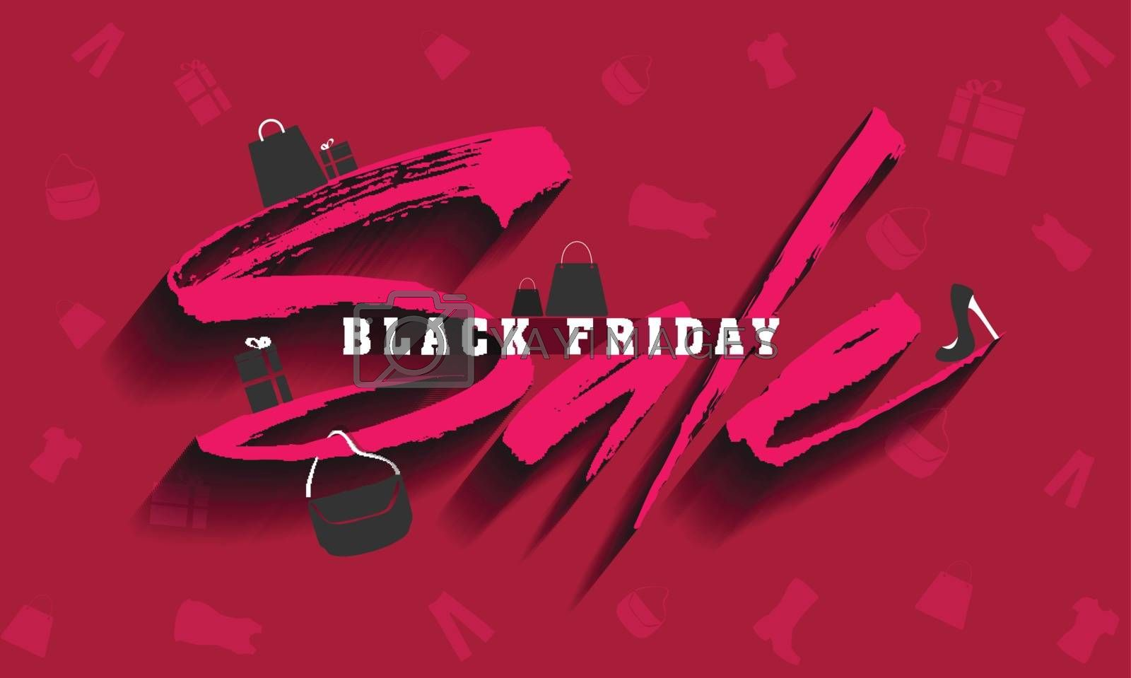 Stylish text Sale for Black Friday on pink background decorated with shopping elements.