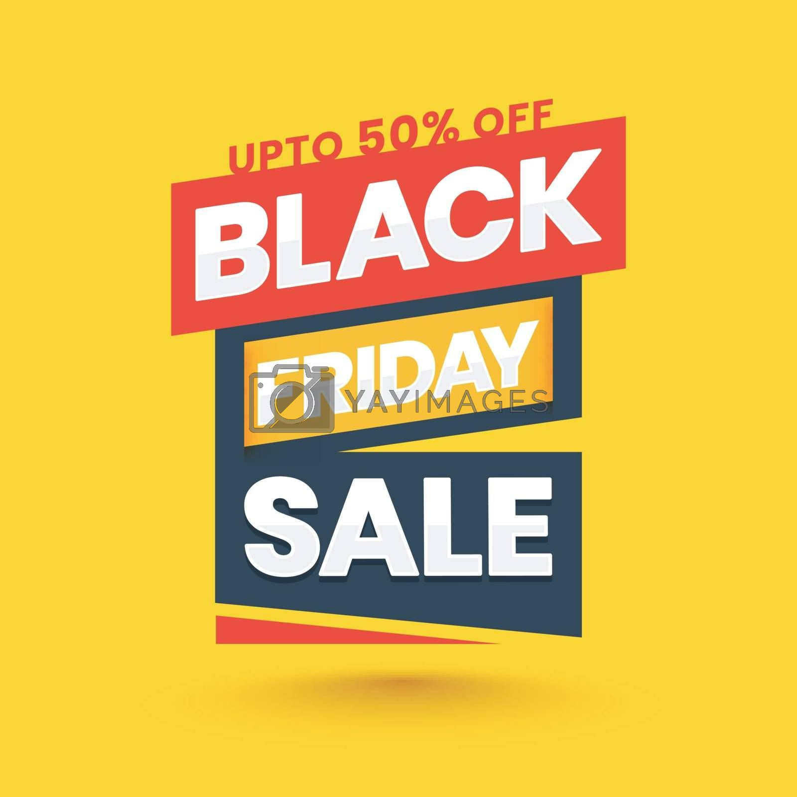 Black Friday Sale tag or label with 50% discount offer on yellow background.