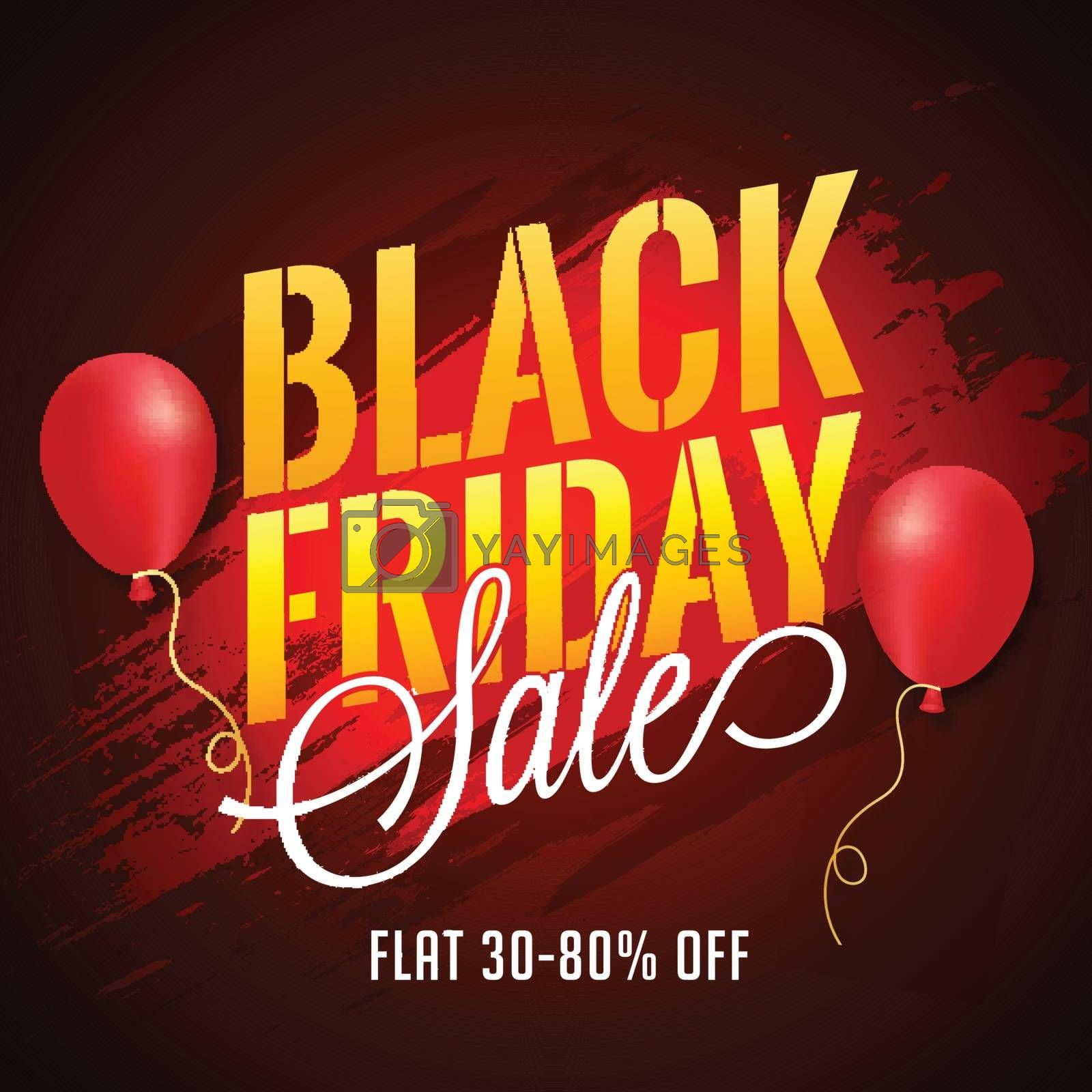 Black Friday Sale poster design, 30-80% Discount Offer with ball by aispl