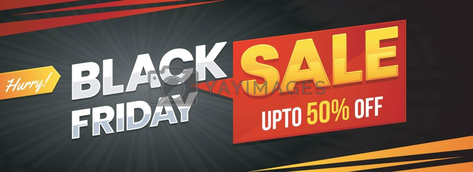 Upto 50% discount offer for Black Friday Sale. Website banner or header design.