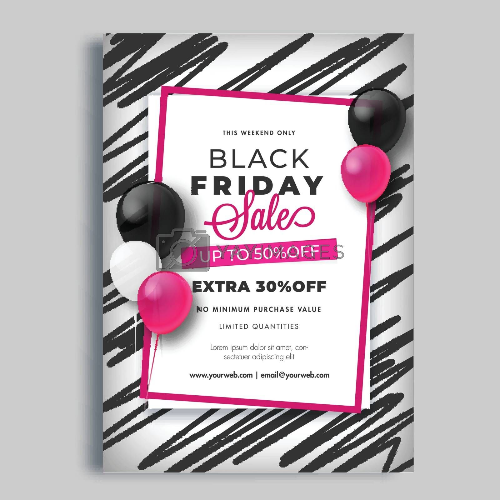 Advertising template or flyer design with best discount offer for Black Friday Sale.