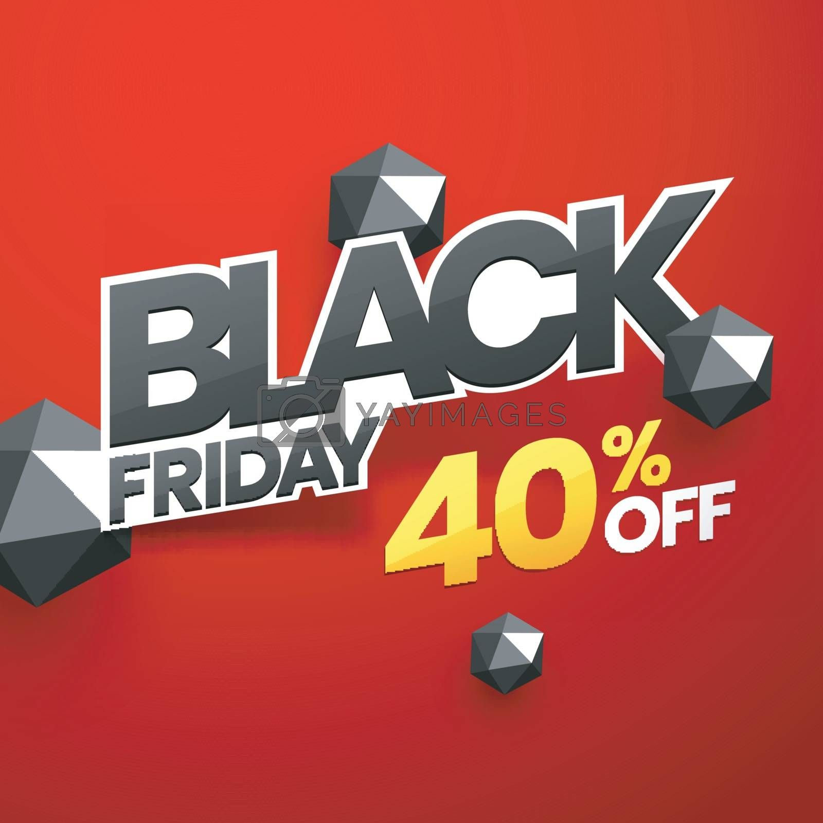 Black Friday poster design with 40% discount offer and 3d abstra by aispl