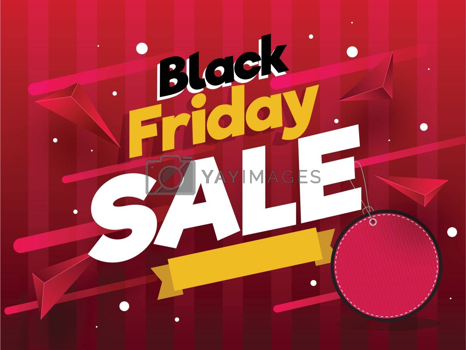 Black Friday Sale poster design with blank tag and abstract elements on red background.
