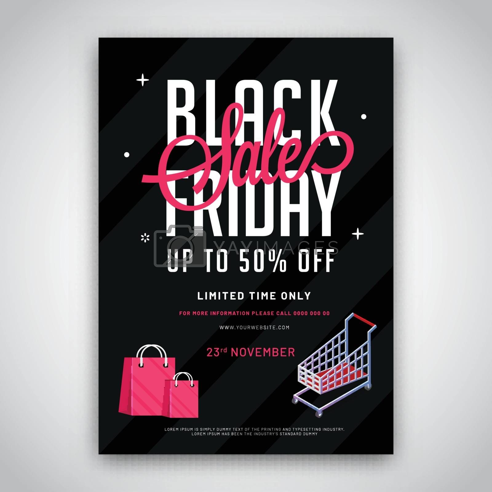 Black Friday Sale with 50% discount offer and shopping equipments on background. Advertising template or flyer design.