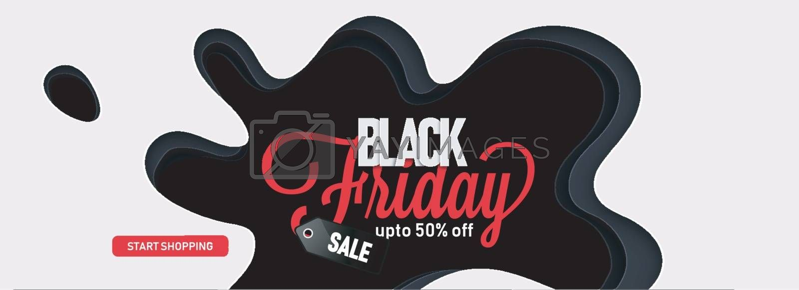 Website sale banner design, 50% discount offer with lettering Black Friday on black abstract background.