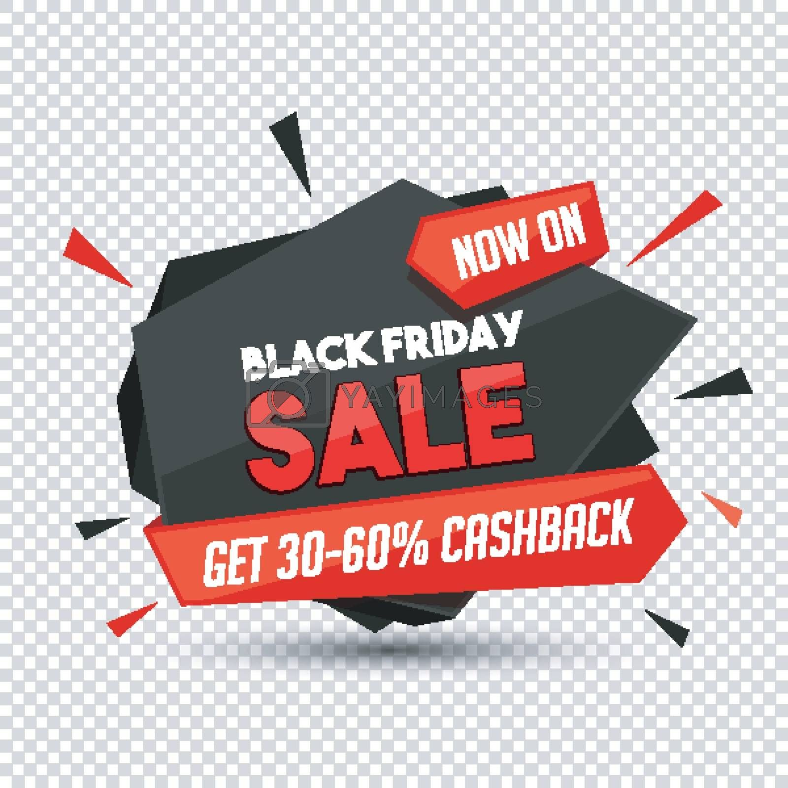 Get 30-60% cashback offer on Black Friday sale with abstract elements on png background.