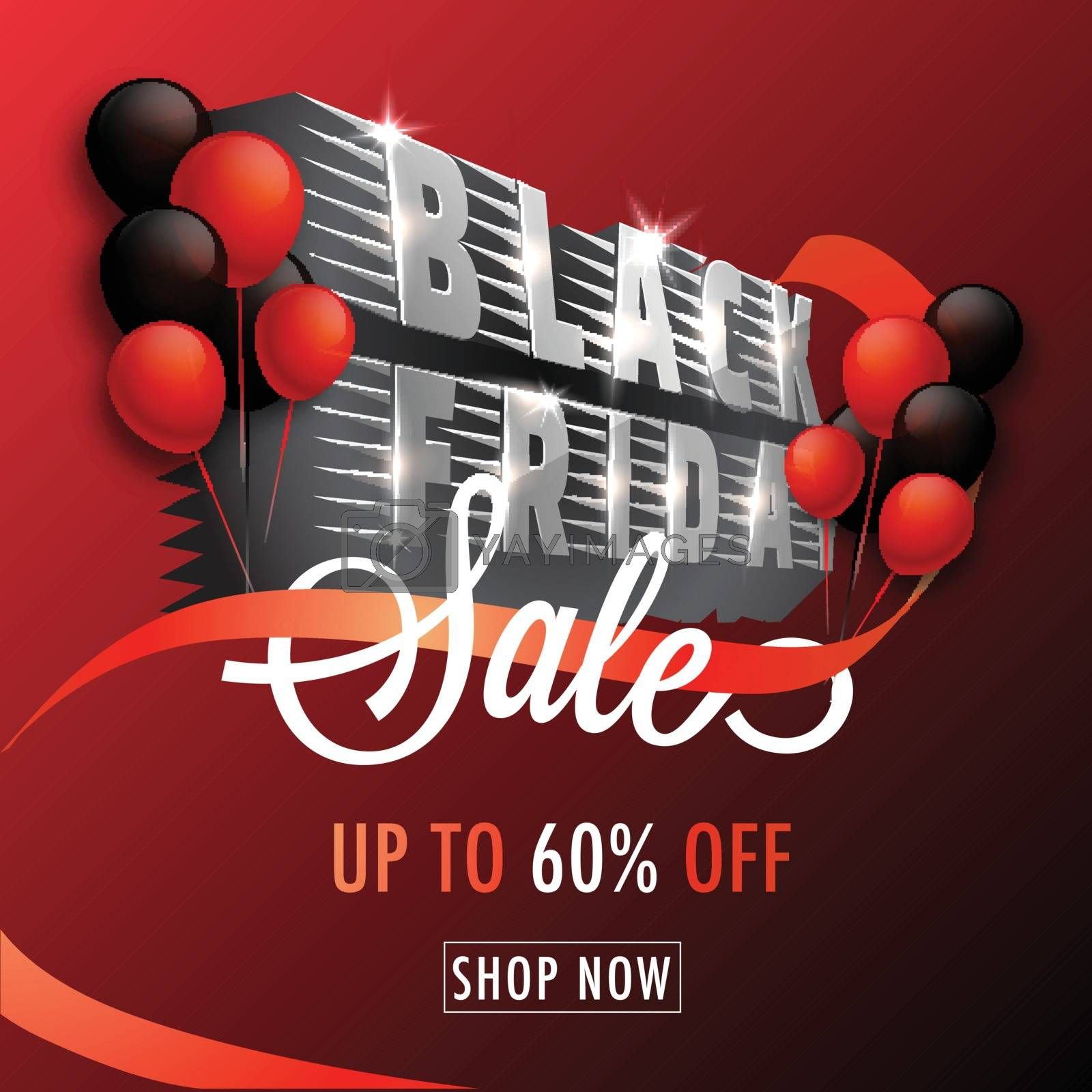 3D text Black Friday with 60% discount offer on glossy red background. Advertising template or flyer design.