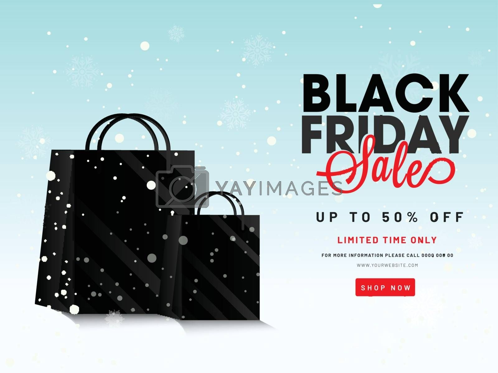Website poster or banner design with 50% discount offer and shopping bags on snowfall background for Black Friday Sale.