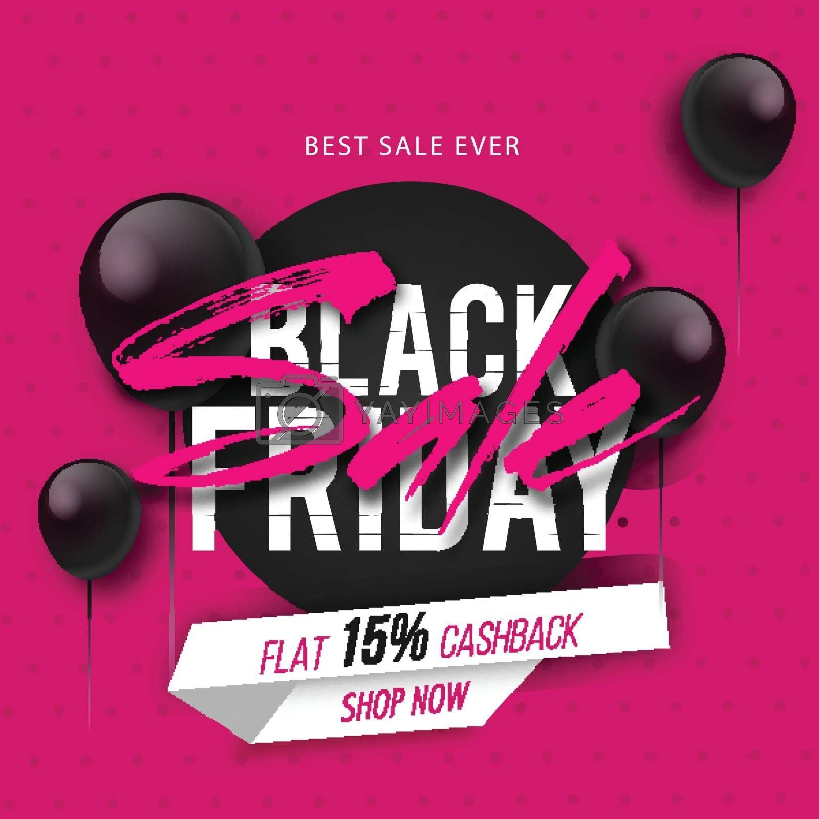Black Friday Sale banner or poster design,15% discount offer on pink background decorated with balloons.