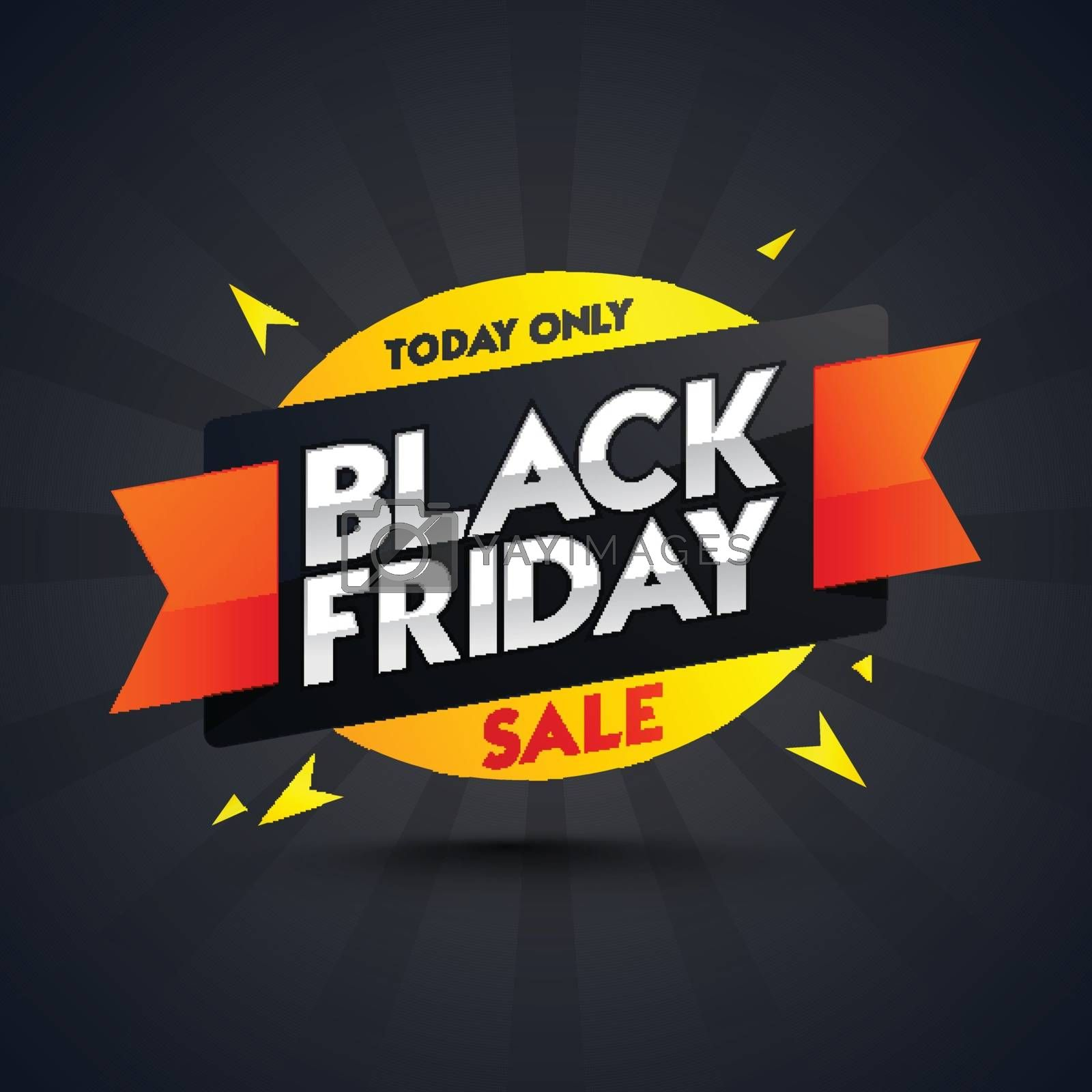 Black Friday Sale sticker or ribbon on rays background for advertisement concept.