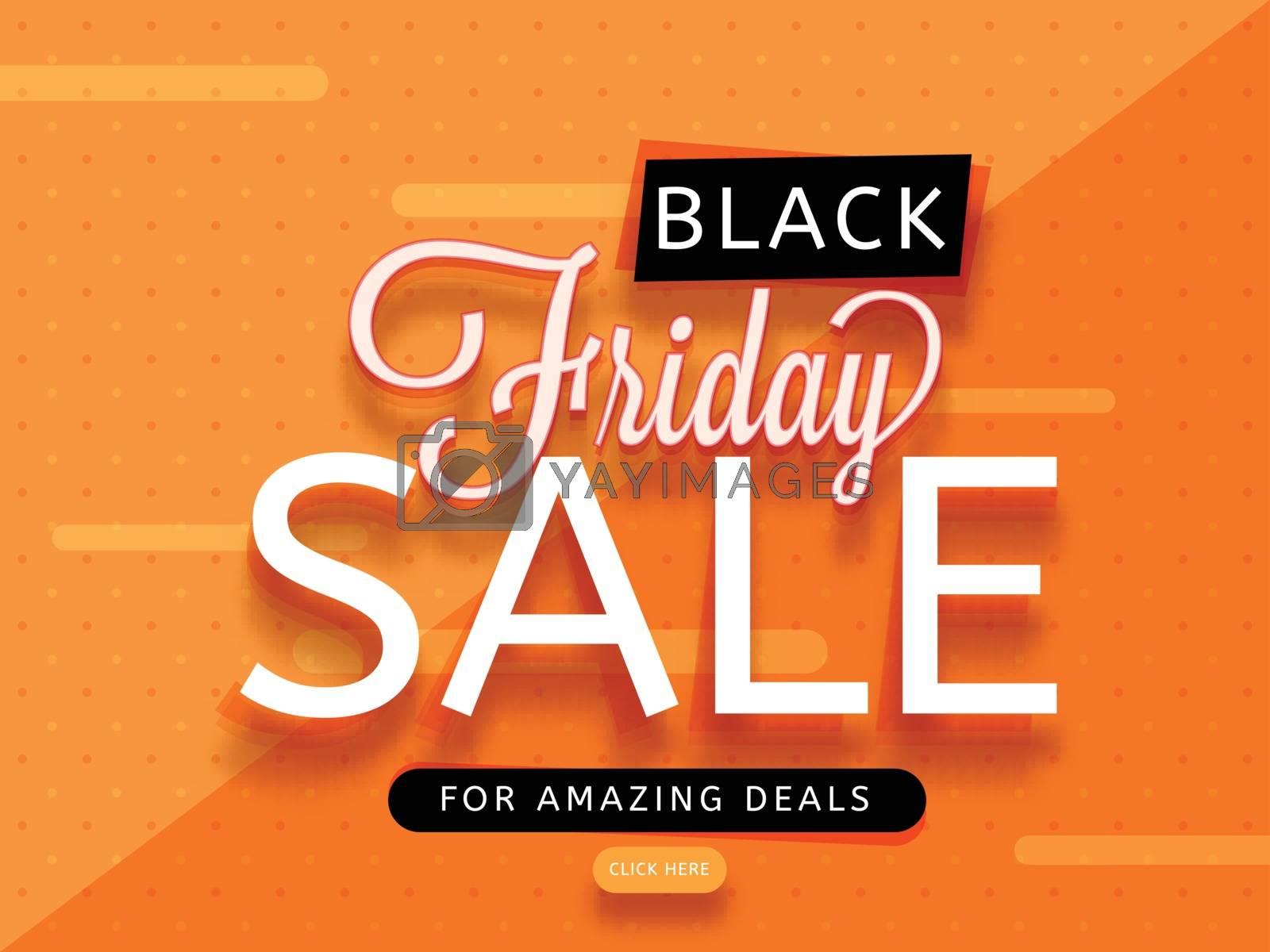 Stylish text Black Friday Sale on orange background, Advertising banner or poster design.